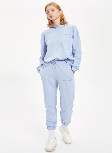 DeFacto Yazı Baskılı Kapüşonlu Sweatshirt Mavi